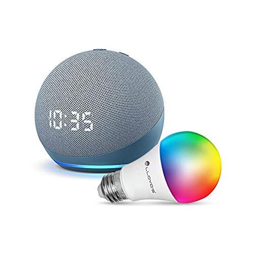 Echo Dot con Reloj (4ta Gen) con Lloyds Foco Inteligente WiFi, Multicolor + Luz Blanca Fría y Cálida, Azul