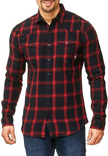 Indicode Herren Altin Flanellhemd kariert mit 2 Brust-Taschen aus 100% Baumwolle   Regular Fit Langarm Herrenhemd Ton-in-Ton Karo-Muster LS Shirt langärmlig Freizeithemd für Männer Tomato XL
