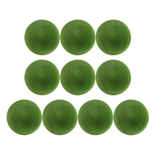 Ukkoch - Bolas de musgo verde musgo para acuario, decoración en miniatura, musgo artificial, piedras, bolas para bodas, jarrón, decoración para el jardín de hadas