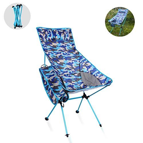 LCZHP Camping-Stuhl für Wandern, Luftfahrt-Aluminium Oxford Cloth Hocker, Grasen Camping Ultra Klappstuhl, Hocker mit Kopfstütze und Pocket High Back Hohe Beine,C