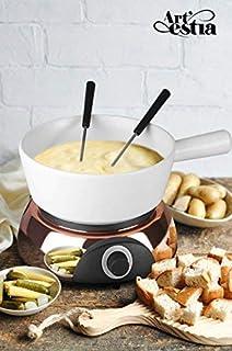 Artestia Electric Ceramic Fondue Set with 6 Fondue Forks (Rose Gold Color Base/White Ceramic Pot)