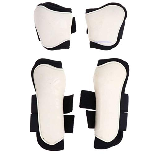 2 Pairs PU Horse Leg Boots Horse Care Boots Equestrian Accessories Front and Rear Leg Support Leggings Horse Protector (White)