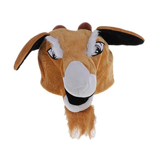 P Prettyia Sombrero de Animal de Peluche Cálido Modelo de Cabra Props de Fotos Accesorios para Disfraces Espectáculo Escenario