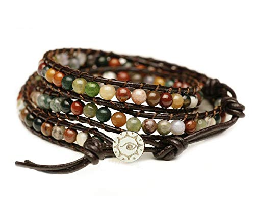 BLUEYES COLLECTION 'Hot Mix Color India Agate Stainless Steel Snap Button Lock Genuine Leather Bracelet