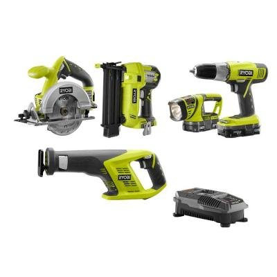 ONE+ 18-Volt Lithium-Ion Cordless Combo Kit with Brad Nailer (5-Tool) (5)