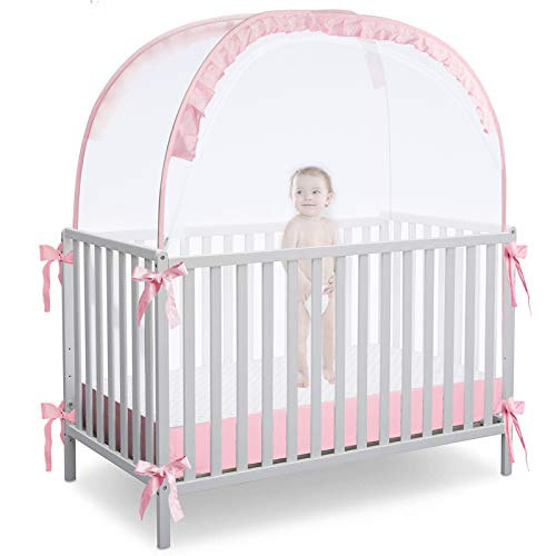 RUNNZER Crib Pop Up Tent, Baby Safety Mesh Cover Mosquito Net, Toddler Bed Canopy Netting Cover Crib Tent to Keep Baby from Climbing Out