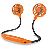 Neck Fan 2600mah Battery Operated Neckband Fan 6-Speed Hand-Free Wearable Personal Fan for Hot Flashes Home Office Travel Outdoor Sports (Orange)