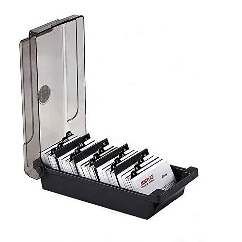 IWILCS Caja organizadora de tarjetas de visita, con 4 separadores y pestañas de índice para empresas, oficina, color gris