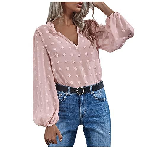 Damen Bluse Chiffon Elegant V-Ausschnitt Langarm Casual Oberteile Hemd Lose Langarmshirt Tops Pullover Damen Bluse Langarm Shirt Tunika Tshirt Kleidung Oberteile Tops Longshirt Damen
