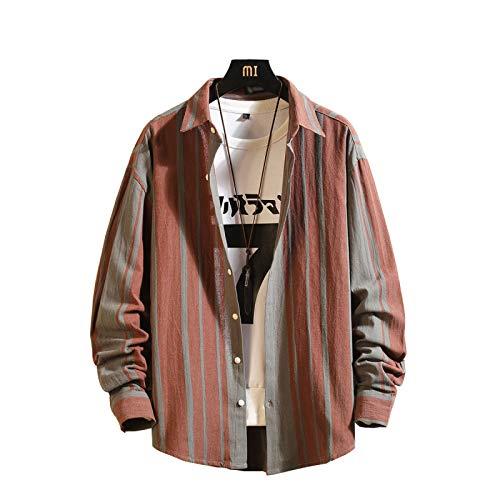 Camisas para Hombre Moda de Primavera y otoo Camisas Casuales de Talla Grande a Rayas urbanas Camisas Sueltas de Manga Larga con Personalidad XXL