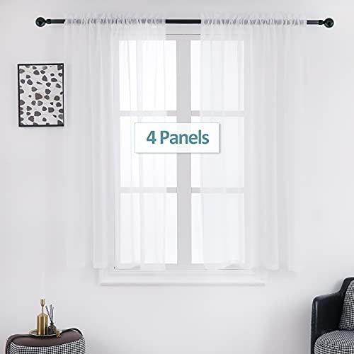 Stiio - 4 paneles de cortina de ventana, paneles de gasa semitransparente, cortinas de lino sintético texturizado, cortinas de luz a...
