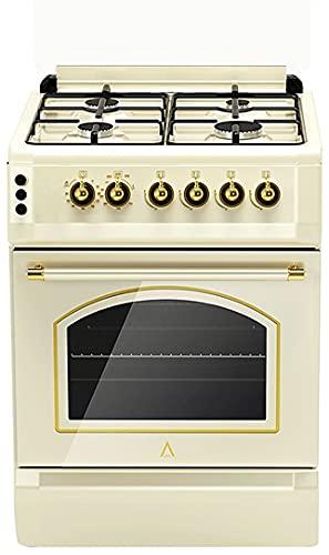 ALPHA Cucina a gas Vulcano Cream-50 Rustica Accensione automatica e timer in forno **Alta gama**