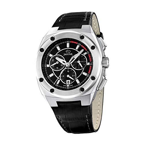 Reloj Jaguar J806/4 esfera negra correa de piel negra diámetro 44 mm