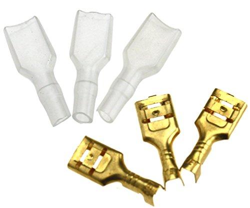 200x Crimpverbinder 6.3mm Flachsteckhülsen Flachstecker Spade Kabelschuhe Sleeve