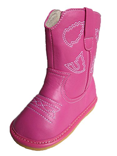 Squeaky Shoes Toddler Hot Pink Leather Cowboy/Cowgirl Boots (8)