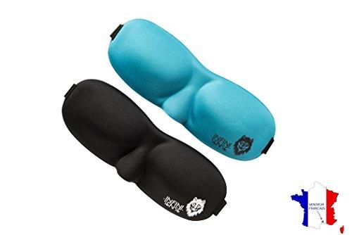INFINISENSE ® Lote 2 antifaces para dormir oscureciendo 3D - Máscara de Noche - Negro interior completamente opaco - Sleep Máscara ultra cómoda - banda para la cabeza para dormir