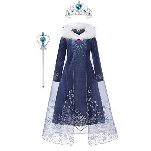 O.AMBW ELSA Kostüm Mädchen Schneekönigin 2 Prinzessin Kostüm Hochwertiger Plüschkragen Blau Langarm Taille Kleid Maskerade Ball Rollenspiel Kostüm mit Krone Zauberstab 100-150cm