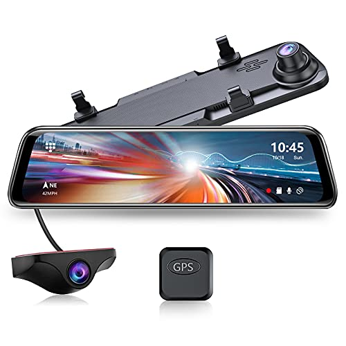 JOMISE G840 2.5K Mirror Dash Cam for Cars, 12' IPS Full Touch Screen, Waterproof Backup Rear View...