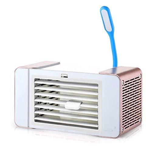 Laptop-airconditioner, USB, miniventilator met tafellamp, geschikt voor thuis, bed, kantoor en kantoor Rose Gold.