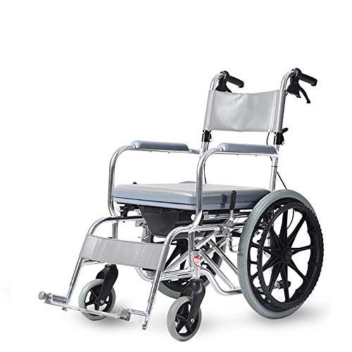 JSBVM Fácil Plegable Silla de Ruedas Silla para Ducha y w.c.para Ancianos, Cirugía De Recuperación, Discapacitados
