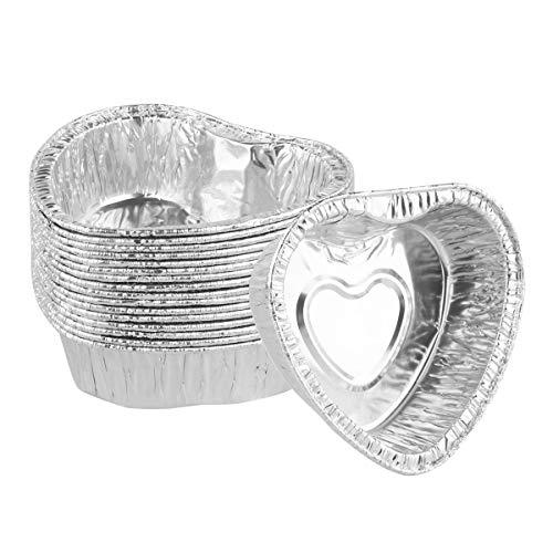 YiZYiF 60Pcs Heart Shaped Disposable Aluminum Foil Muffin Cupcake Ramekin Mini Pudding Cups Cake Dessert Quiche Tarts Baking Tin Pans Silver One Size