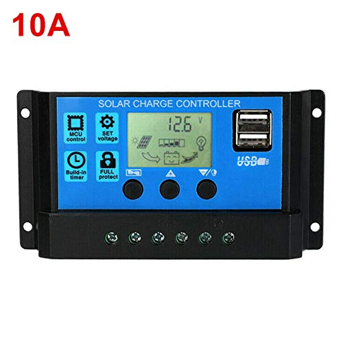 Syfinee Solar Charge Controller, 12V/24V Auto Focus Tracking Solar Panel Regulator Solar Panel Battery Intelligent Regulator Multi-Function Adjustable LCD Display Street Light Controller 10A/20A/30A