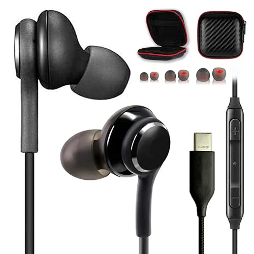 USB Type c Headphone Earbuds for Samsung Galaxy Note 10 Plus 5g Earphones with Microphone s20 s20+ Plus s21 Black Ear Buds Phones fe usbc