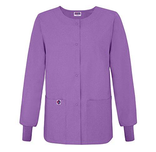 Sivvan Women's Scrubs Warm-Up Jacket/Front Snaps - Round Neck - S8306 - Lavender - XS