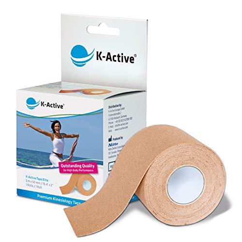 K-Active Tape Elite | Kinesiologie Tape | Sanftes Tape mit starkem Halt | extra hautfreundlicher Kleber | tape kinesio wasserfest & elastisch | [5cmx5m] | beige