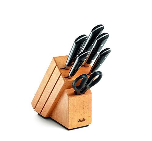 Fissler texas / Messer-Set bestückt (7-teilig) Messerblock aus Holz (inkl. Koch; Brot; Schäl, Schinken -& Universal-Messer, Schere)