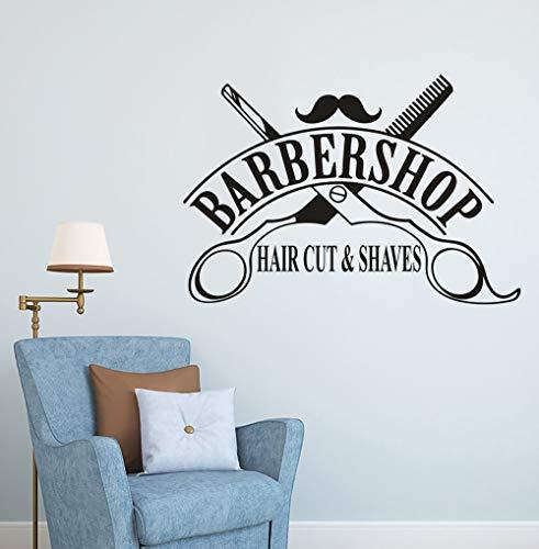 Pegatinas de vinilo para ventana de peluquería para corte de pelo y afeitado logo calcomanías de pared decoración de peluquería diseño de tijeras pegatinas de decoración de pared interior A1 57x39cm