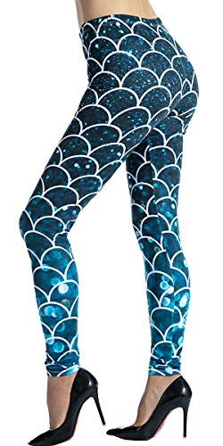 Ndoobiy Women's Printed Leggings Full-Length Regular Size Workout Legging Pants Soft Capri L1(Fishscale OS)