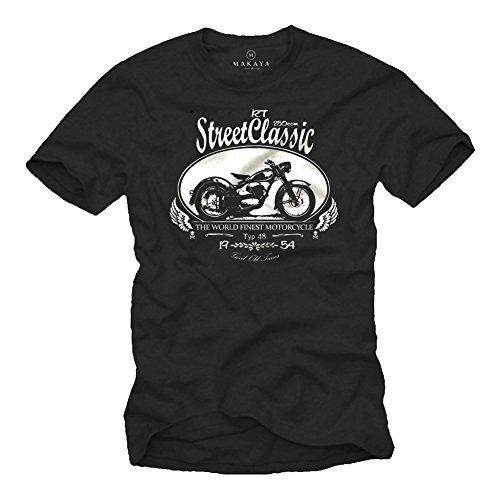 MAKAYA Oldtimer DKW RT 250 Moto - Biker Chopper T-Shirt Uomo Nera S