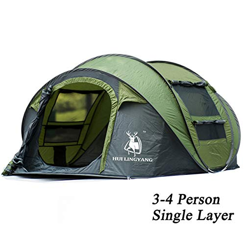 Gooi Pop Up Tent, 3-4 Persoon Outdoor Automatische Tenten Family Tent Waterproof camping wandelen Tent Instant Cabana,Green