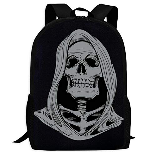 Therwd Childrens Adult Outdoor Sports School Backpack,Cool 3D Print Skull,Book Bags Shoulder Bag