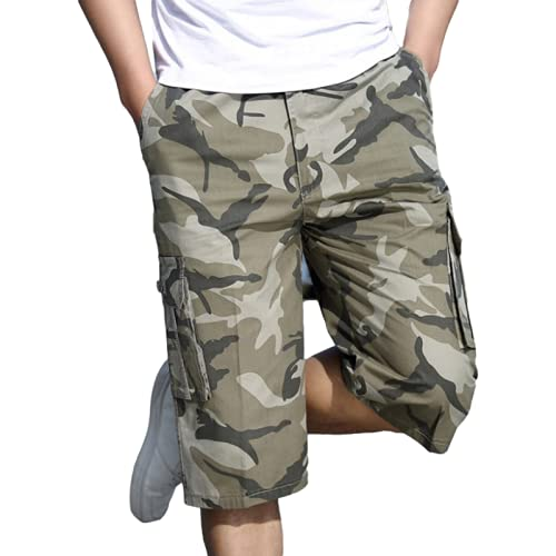 Katenyl Pantalones Cortos Cargo de Camuflaje con Personalidad para Hombre, Pantalones Cortos Informales de Gran tamaño con Contraste de Color Fino y Suelto a la Moda 4XL