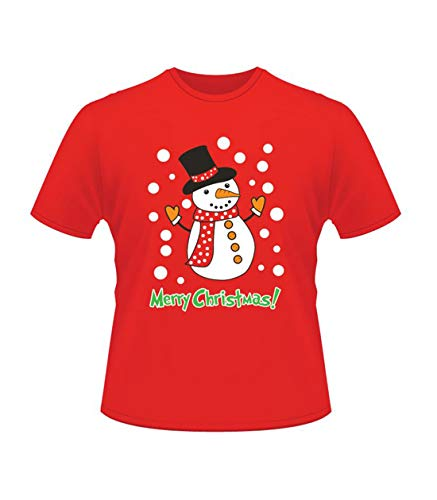 Hari Deals da Donna da Uomo Natale T Shirt Natale Unisex Babbo Natale Renna Pupazzo di Neve Gadget T-Shirt Top - Pupazzo di Neve, L