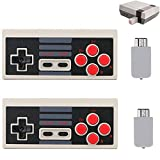 Wireless Game Controller for NES Classic Mini Edition, (2 Pack) 2.4G Wireless Gamepad with Receiver, Compatible with Nintendo NES/SNES Classic Console Game System(AAA Battery Needed)