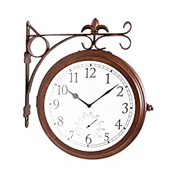 Bestime Double Sided Wall Clock Wrought Iron, Metal, Quiet, Easy Read Two Faces Retro Station Clock Antique Hanging Clocks for Garden Home Décor Indoor Outdoor Living Room Study Wall Decoration