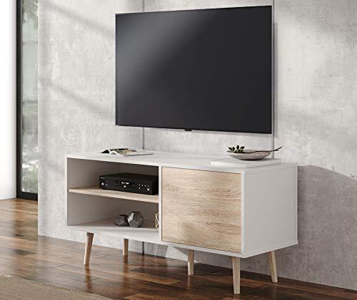 WAMPAT Mobile TV Porta Moderno in Legno Supporto per TV Universale da 39 Pollici Mobiletto TV Bianco con 1 Armadio e 2 Ripiani, Perfetto per Soggiorno, Ufficio, Intrattenimento, Camera da Letto