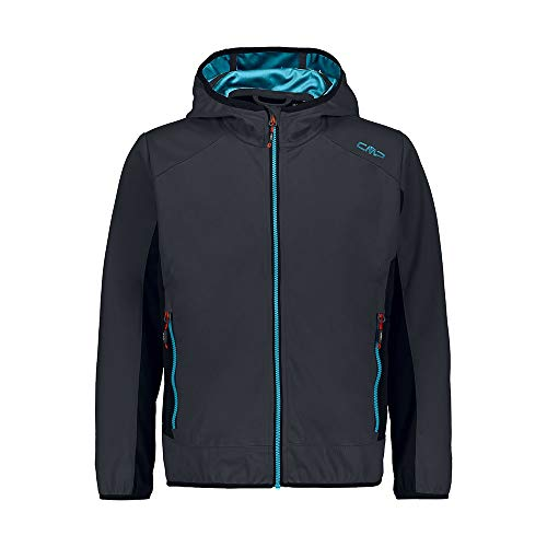 CMP Jungen Softshell Jacket with Fixed Hood Jacke, Anthracite-Blue Teal, 140