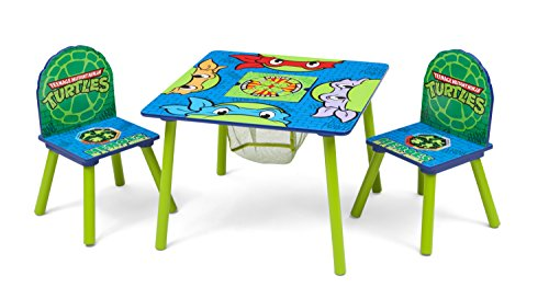 Delta Children Kids Table and Chair Set With Storage (2 Chairs Included) - Ideal for Arts & Crafts, Snack Time, Homeschooling, Homework & More, Ninja Turtles