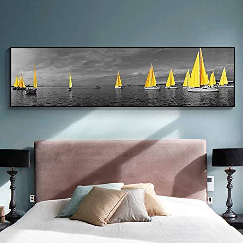 ganlanshu Gelbes Seeboot-Landschaftsplakat auf Leinwandbild von Wohnzimmerwandbettmalerei rahmenloses Gemälde 20cmX60cm