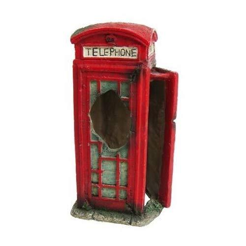 Heritage bm128s Acuario Fish Tank ornamento de cabina de teléfono pintado decoración rojo 14cm Ocultar