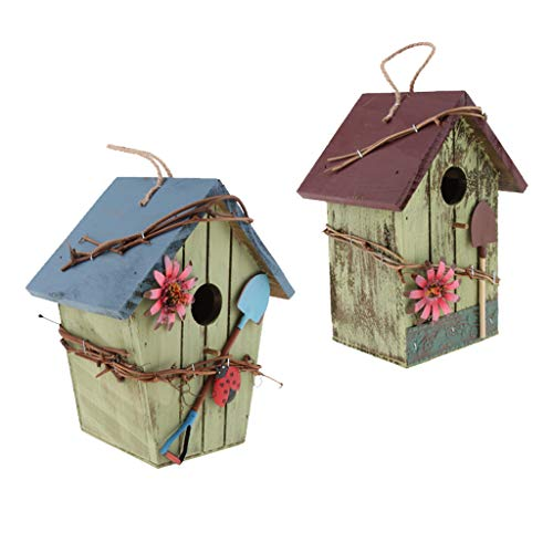 FLAMEER 2 Piezas Casa de Madera para Pájaro, Nido para Pájaros Casita Decoración de Jardín, Terraza o Balcón