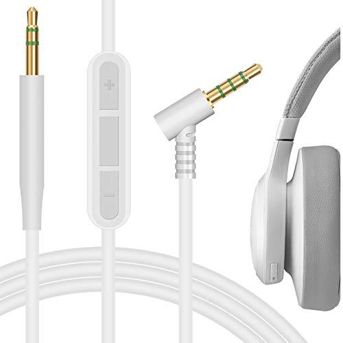 Geekria QuickFit Audiokabel kompatibel mit JBLs E35 E40 E40BT E45BT E50BT E55BT 650BTNC 600BTNC Kopfhörerkabel, 2,5 mm AUX Ersatz-Stereo-Kabel mit Inline-Mikrofon (weiß 1,5 m)