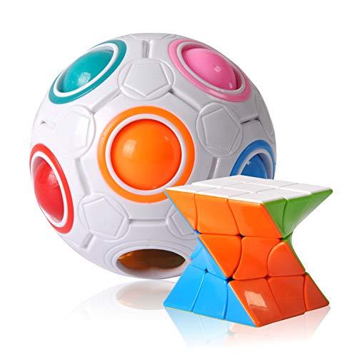 YagoDago Regenbogenball, Geschicklichkeitsspiel für Kinder und Erwachsene, Kinder und auch als Stressball- oder Puzzlespiel für Erwachsene (Wir verschenken einen Zauberwürfel als Geschenk)