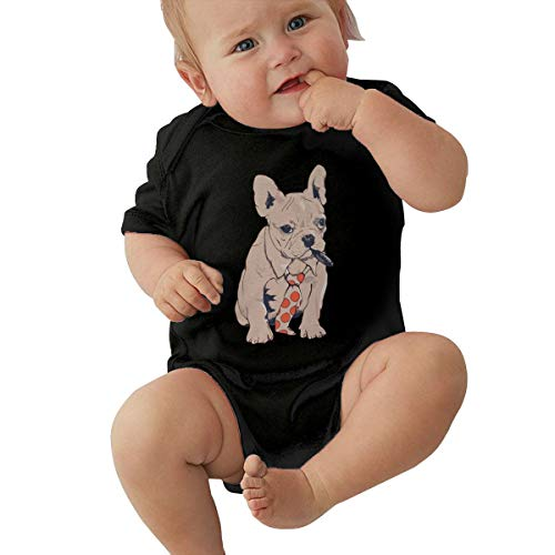 YISHOW Cool French Bulldog Cigar Tie Bodysuits Infant Romper Jumpsuit Short-Sleeve Toddler Onesie 6M Black