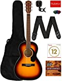 Fender CP-60S Solid Top Parlor Size Acoustic Guitar Bundle with Gig Bag, Tuner, Strap, Strings, Picks, Fender Play Online Lessons, and...