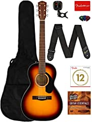 """Smaller parlor-sized body is compact and comfortable, ideal for beginning players Solid Spruce Top with Laminated Mahogany Back and Sides 24.75"""" scale mahogany neck w/20 fret walnut fingerboard Chrome Die-Cast tuners and Rosewood Bridge Bundle includ..."""